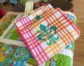 SALE -- Happy Tangerine Check Towel with Silk Screen Turquoise Fleur de Lis