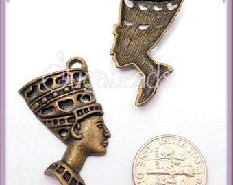 6 Antiqued Brass Egyptian Queen Nefertiti Pendant 39mm PB2