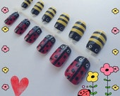 Two Bugs in a Rug Nail Art Hand Painted 12-Piece Set