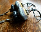 Dusk Earrings, Artisan Matte Lampwork Earthy Pebbles, Organic Black Lava Stone, African Christmas Beads, Oxidized Sterling & Bali Silver