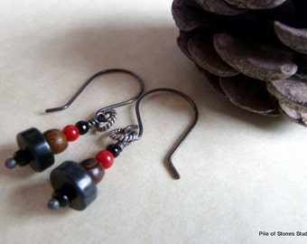 Circle Stack* Wood Stone & Sterling Earrings Earthy Organic Oxidized Jewelry Neutral Black and Brown with Pop of Red Any Season Earrings