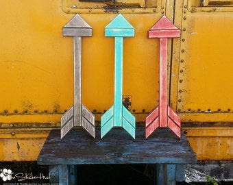 Wood Arrow - Trendy Wall Art - Handmade - Gallery Wall Ideas - Wooden - Wall Hanging - Distressed - 10 Color Options - Signs - Sign - Arrows