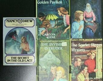Five Vintage Nancy Drew Mystery Novels Mystery Books 1954 - 1980 Volumes 32, 36, 46, 47, 59