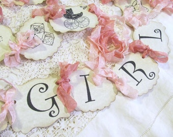 Its a Girl Banner w/ribbons - Baby Girl Shower Sign Garland Bunting -Choose Size & Ribbon- Sprinkle - Small Medium Large - its a girl