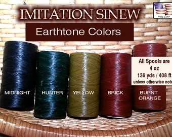 Artificial /  Imitation SINEW - Choose Color, 4 oz Spool, Waxed, Splittable for Basketry, Leather Craft, Gourd Art, Weaving, Dreamcatchers