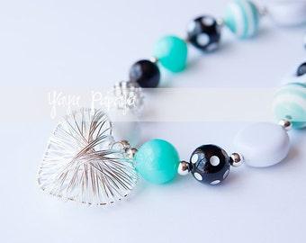 Aqua & Black Chunky Necklace