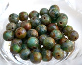 Green Turquoise Picasso 8mm Round Czech Glass Beads   25