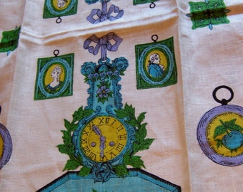 teal clocks linen towel