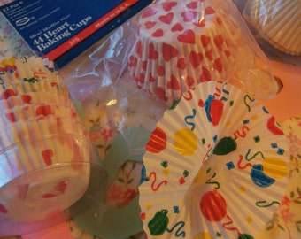 variety of paper baking and party cups