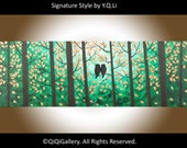 """Owl painting Animal painting home decor wall decor decorative art wall hangings """"Our Secret World II"""" by qiqigallery"""