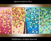 "Original Large Abstract tree painting gift for her acrylic wall art canvas art four seasons tree""365 Days of Happiness"" by qiqigallery"