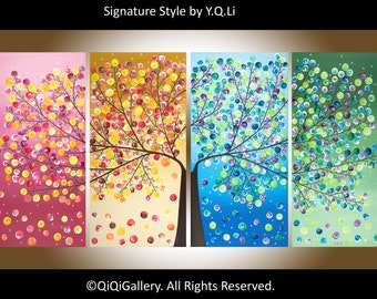 "Extra large wall art 72"" Abstract Landscape four seasons Tree  home Office Wall Decor ""365 Days of Happiness"" by qiqigallery"