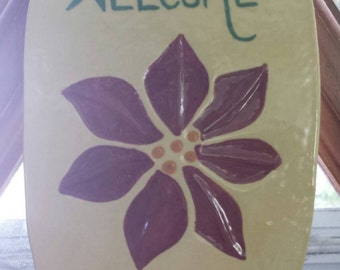 Hand Painted Ceramic Welcome Sign with Poinsettia