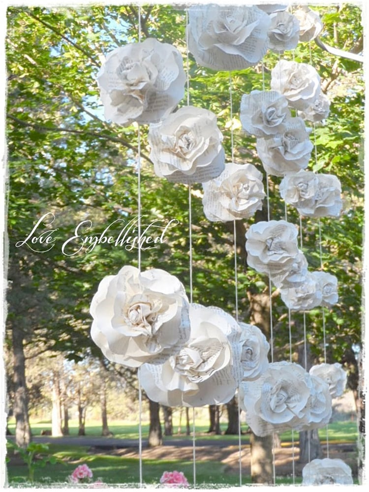 one 7 ft long paper flower garland vintage by loveembellished