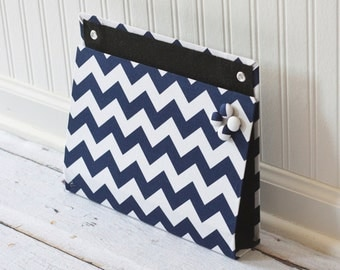 Large Wall Organizer Pocket, Magnet Board, File and Mail Holder - Navy and White Chevron Fabric- Ready to ship