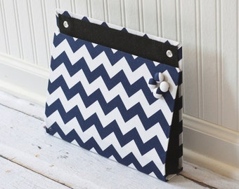 Large Wall Organizer Pocket, Magnet Board, File and Mail Holder - Navy and White Chevron Fabric