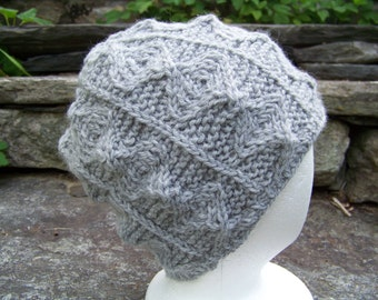Handknit Ogee Pattern Beanie Hat in Heather Grey Wool