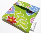 Cloth Menstrual Pad Wrapper - waterproof PUL lining and quilter's cotton outer - 4.5 x 4.5 inches - Flower Shower
