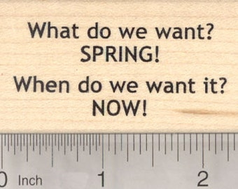 Spring Rubber Stamp, What do we want, Protest against more winter H24115 Wood Mounted