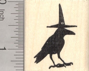 Halloween Raven Rubber Stamp, Witch Hat Crow Blackbird D25509 Wood Mounted