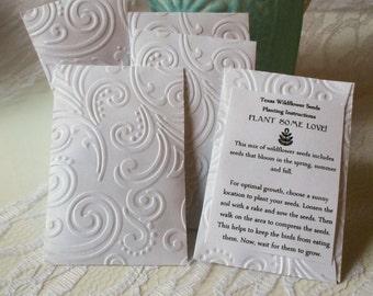 Set of 10 Wedding Favors - Wildflower Seeds - Embossed