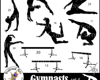 Female Gymnasts Silhouettes set 4 - 17 png clipart graphics of female gymnasts on a balance beam {Instant Download}