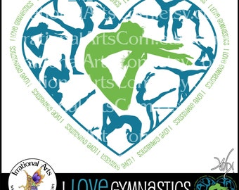 Customized I LOVE Gymnastics Heart - 1 png graphic Gymnastics clipart graphic team colors tumbling cheer gymnast [You Choose the Colors]