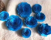 Scrapbook Flowers...8 Piece Set of Very Pretty Turquoise Scrapbook Paper Flower Rolled Roses