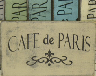 CAFE DE PARIS sign  / Paris Apartment dec/ French country decor / Paris cafe / hand painted sign / French cafe sign / Paris sign