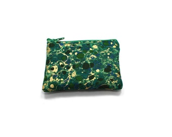 Pocket Zipper Case, Change Purse, Card Case, Coin Purse, Green with Gold Splotches 5643
