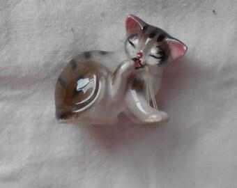 1950 s CAT FIGURINE VINTAGE collectible ceramic, hand painted, feline, gray stripe