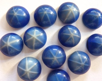 Vintage Navy Blue Star Sapphire 11mm Round Glass Flat Back Cabochons (4)
