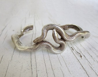 Sterling Silver Snake Cuff Bracelet, Realistic Texas Ribbon Snakes
