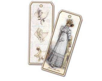 White Jane Austen Bookmarks,Gift Tag, Cottage Chic, Wedding Party Bookmark, Bridal Shower Favor, Three Sets of Jane Austen Gifts
