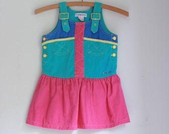 Vintage 80's girls dress gymboree color block