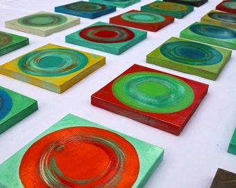 CUSTOM COLORS | Modern Abstract Wood Wall Art Blocks | Original Geometric Wall Sculpture | 36 piece collection | Rosemary Pierce SKU#DC33006