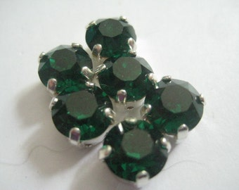 Lot of 6 8mm Emerald Dentelle Swarovski Chaton Cut Rhinestones in Silver Plated Brass Sew On settings
