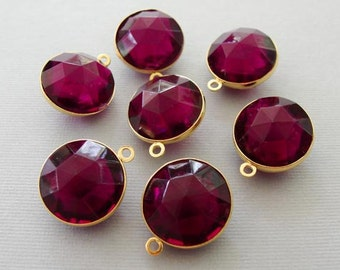 Amethyst acrylic faceted channel set bead pendant drops - one loop bead drops AC001