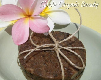 2 - Round Bars Organic African Black Soap w/ African Shea Butter hand melted in and Fragrance Free
