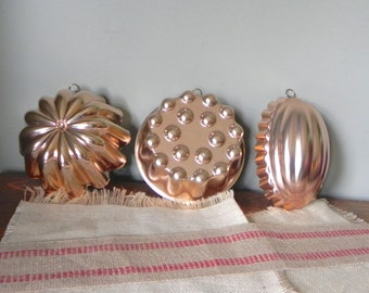 Vintage three copper molds for use or wall decor decoration wall tin decor