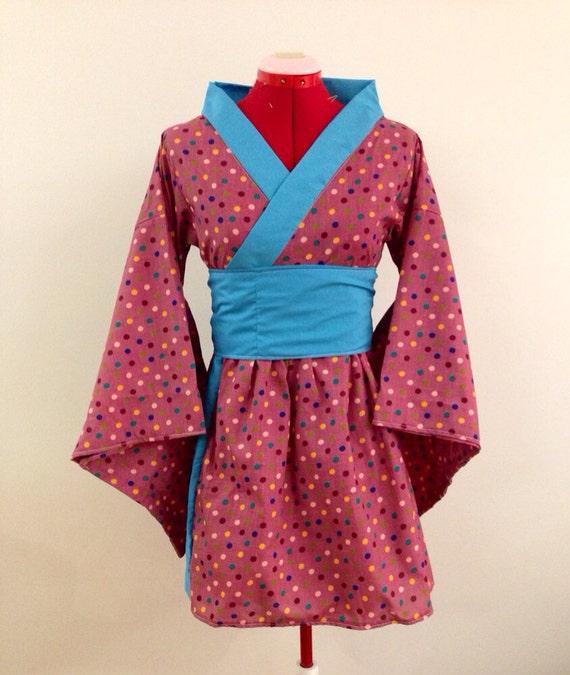 Simple Kimono Dress in Wine