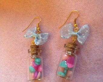 Pastel Hearts In A Tiny Glass Jar Dangle Baby Blue Bow Earrings