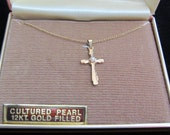 Leading Lady Vintage NOS 12 Kt Gold Filled Cross with Cultured Pearl Accent Necklace
