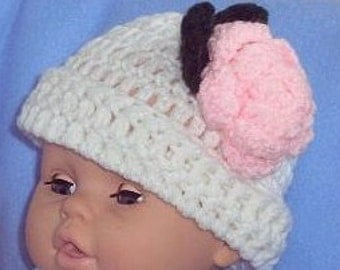 White Crocheted Baby Beanie with Pink Rose, Newborn Baby Hat, Crocheted Baby Hat, Ready to Ship