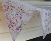 Shabby Ashwell Wildflower Pink Rose Floral Chic, 5 Bunting Flags - 4.5 Feet - READY TO GO