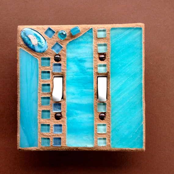 Double Toggle Aqua Switch Plate Stained Glass Light Switch