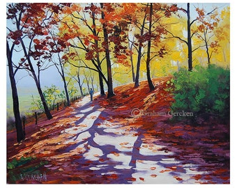 AUTUMN PAINTINGS RED Trees landscape tree painting listed Atist Graham gercken