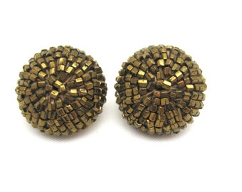 Vintage Bronze Beaded Earrings - Clip Earrings