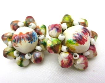 White Painted Bead Earrings - Clip Brush Abstract Colorful