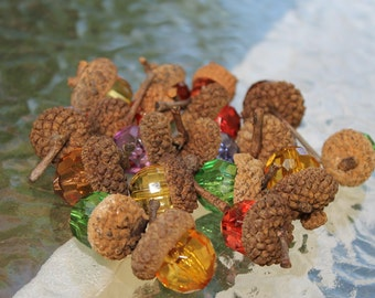 17 Beaded Acorns Multi Colored Faceted Beads Rustic Home & Living Bowl Fillers